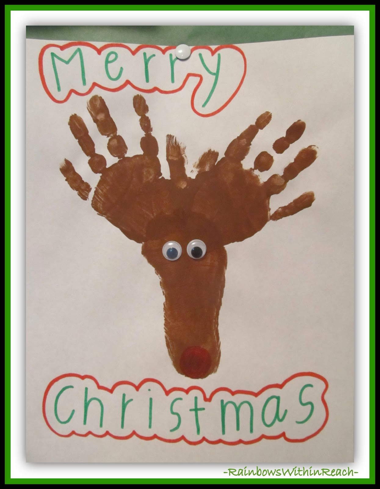Hands and Foot Painted to Create a Reindeer {Painted Hands RoundUP at RainbowsWithinReach}