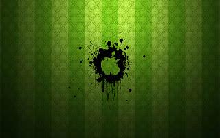 black Apple Mac logo on green background