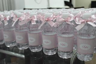 Água personalizada menina rosa com lacinho