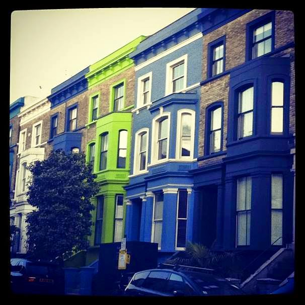 Green, Blue townhouses in Notting Hill