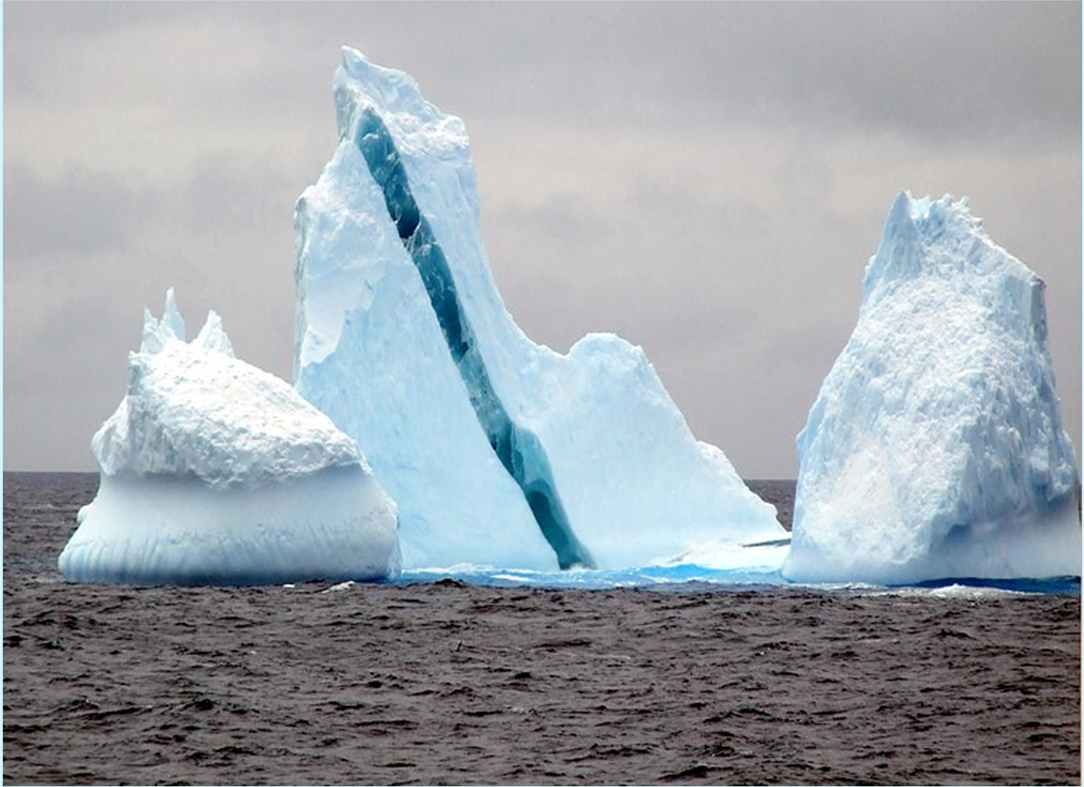 describing a glacier and how it differs from ice shelves icebergs and sea ice Land ice, or ice that originates on land, should be distinguished from sea ice:   figure 2 – cross-section of the antarctic: sea ice, icebergs, ice shelf, glacier,  inlandsis  take you to a site that describes the photo and has links to larger  images.
