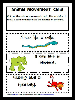 Photo Zoo Themed Learning Activities for preschool Zoo Animal Movement Game printables, lessons, teaching ideas,