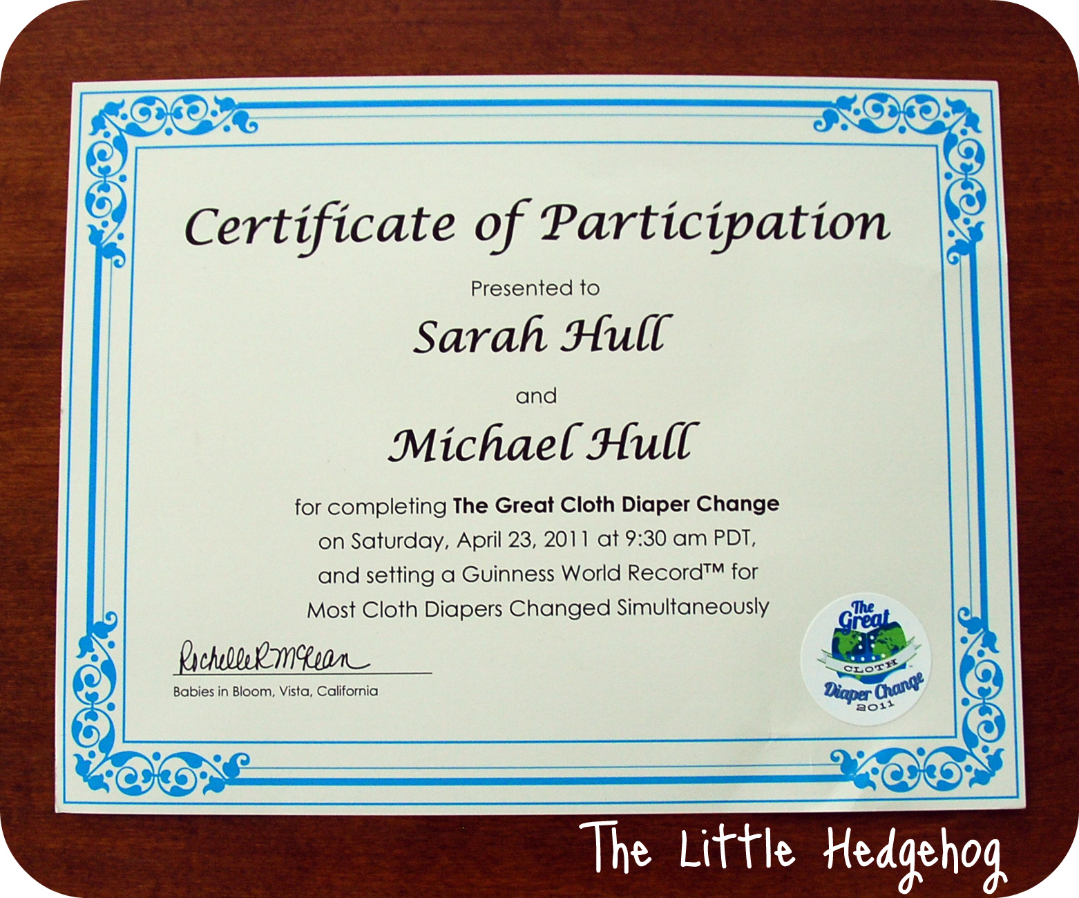... Sample Certificate Of Participation The Little Hedgehog The Great Cloth  Diaper Change ...