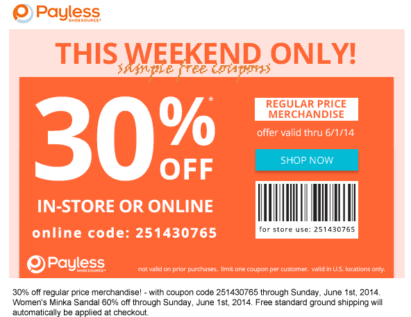 Payless shoes coupon code