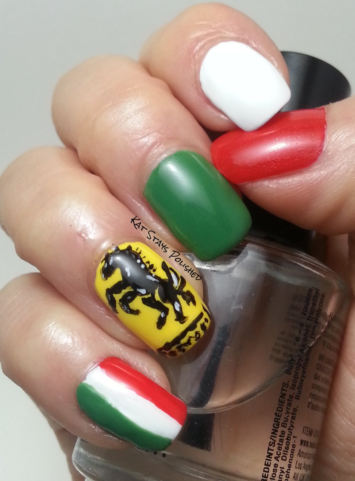 Ferrari nail art gallery nail art and nail design ideas kat stays polished beauty blog with a dash of life ferrari nail ferrari nail art freehand prinsesfo Gallery
