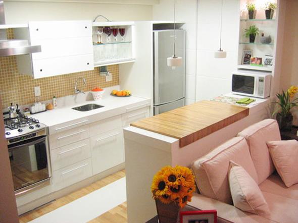 decoracao interiores ambientes pequenos:Na cozinha pequena, opte por um fogão demesa, esqueça a porta de