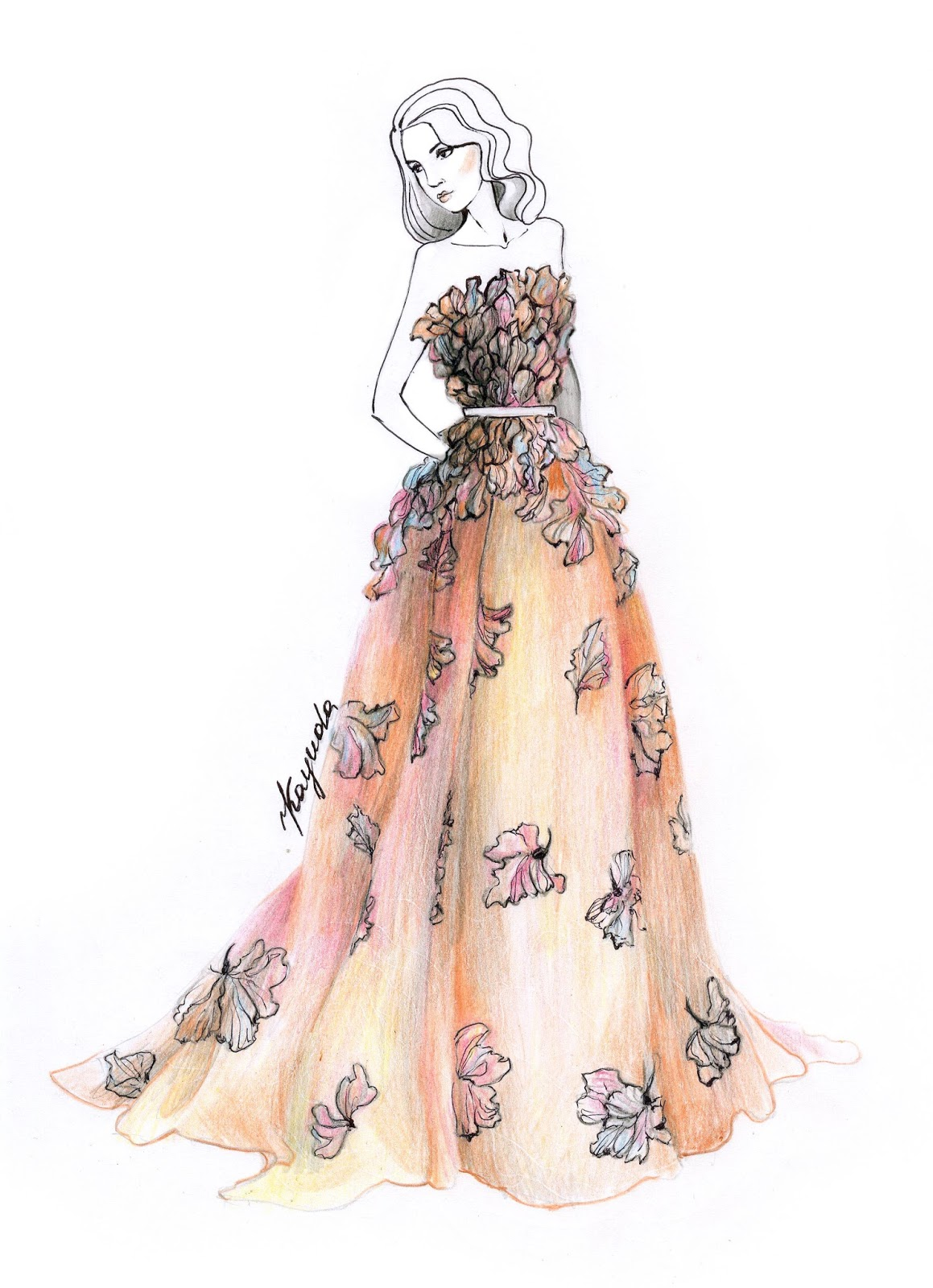 Коллекция рисунков платьев