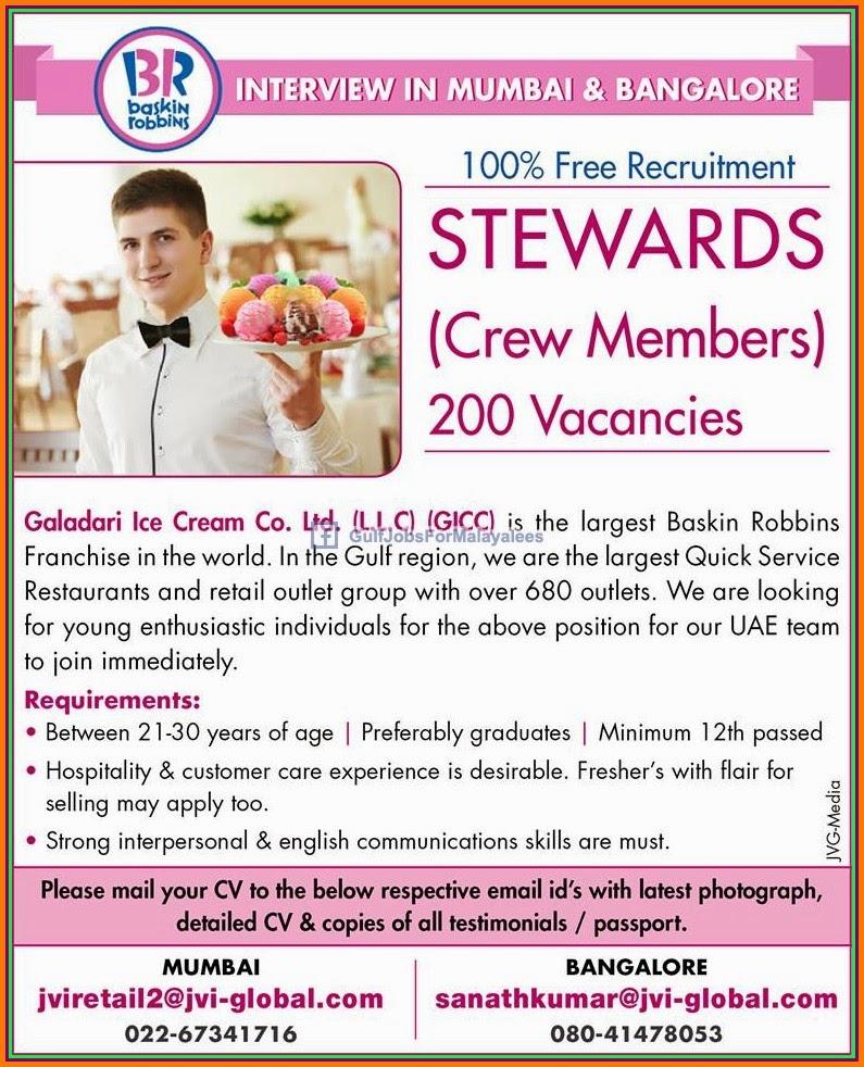 Baskin Robbins Job Vacancies For Uae Gulf Jobs For