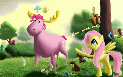 Fluttershy sees Pinkie Pie as a Moosey Moose Moose Moose
