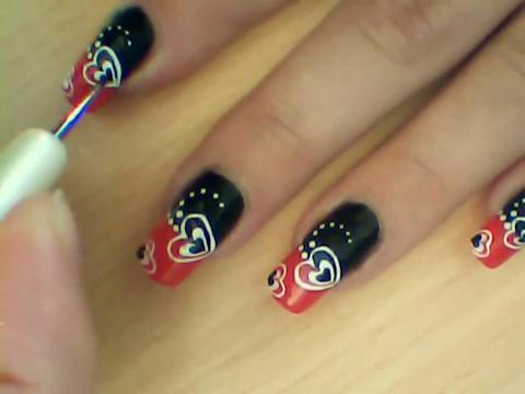Manikir-obuka-tutorijal-3-(crveno-crni-nail-art-nokti)-012