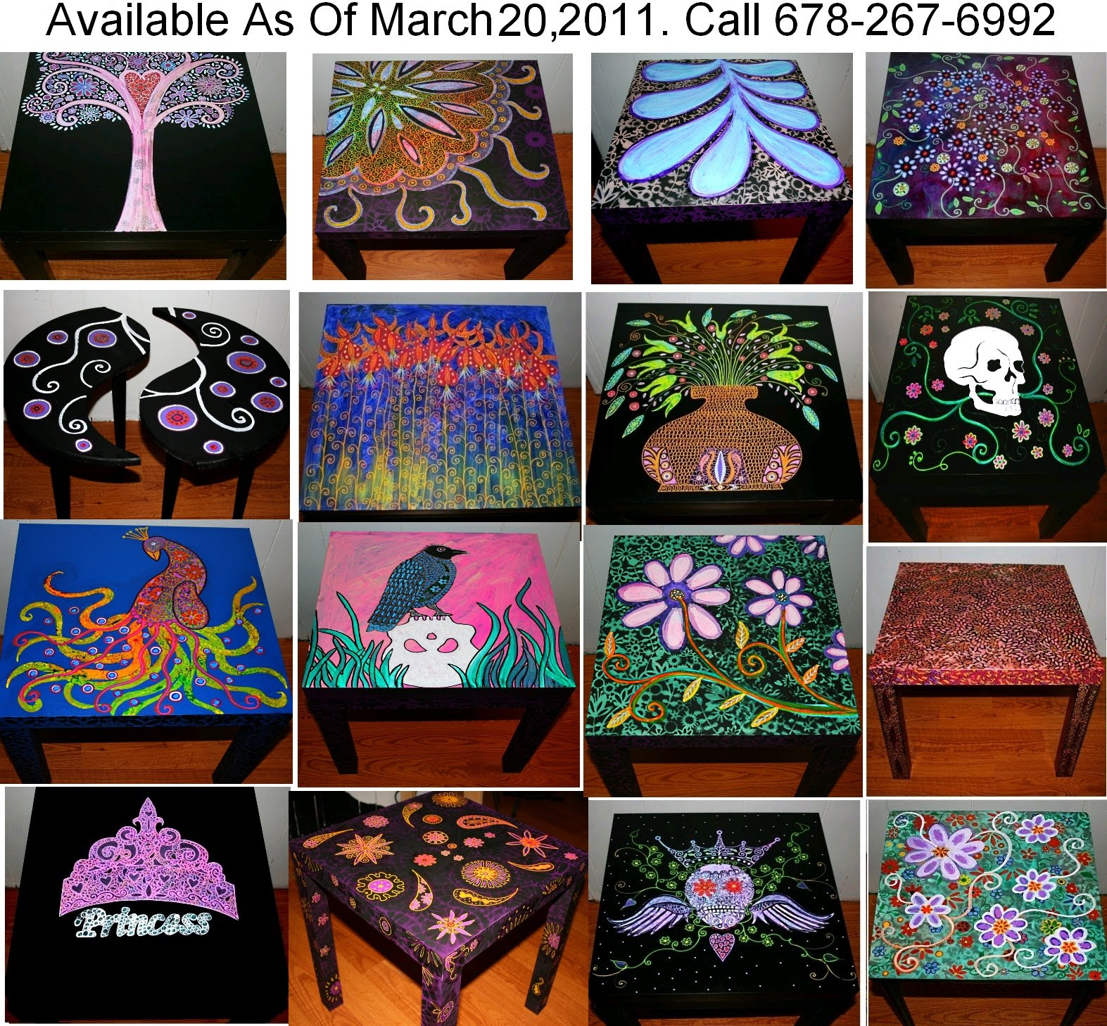 Funky home decor hand painted coffee tables nightstands all one of a kind free shipping One of a kind coffee tables