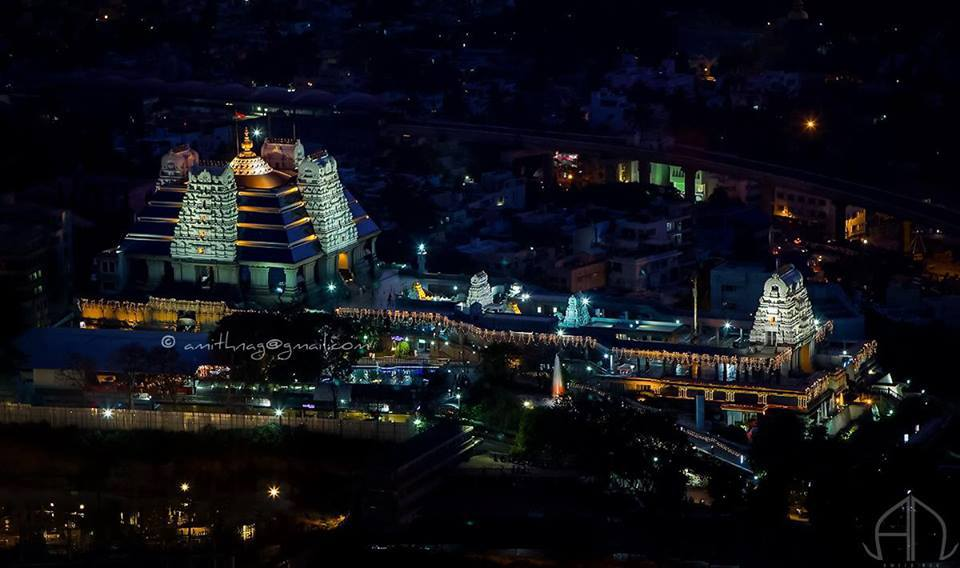 A night view of ISKCON Temple , Bangalore  Photo : Amith Nag