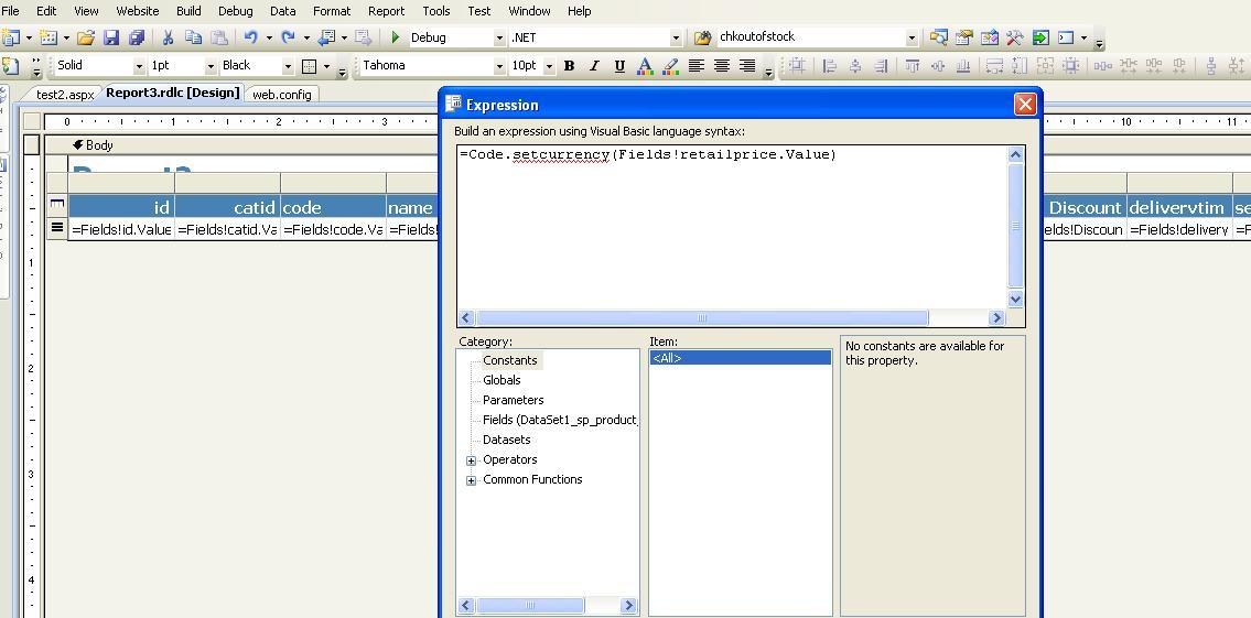write custom code reporting services