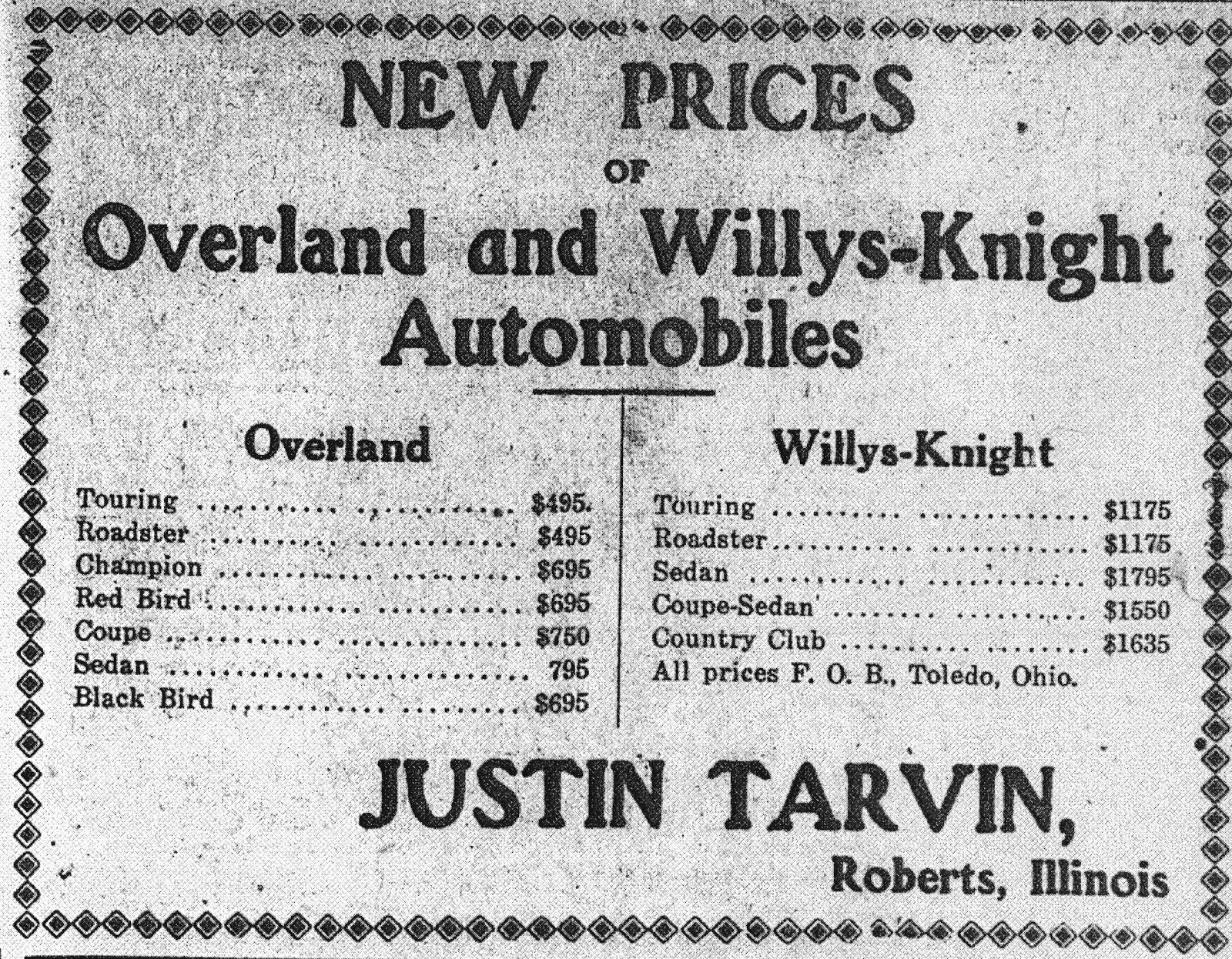 Justin Tarvin 1924 Ad