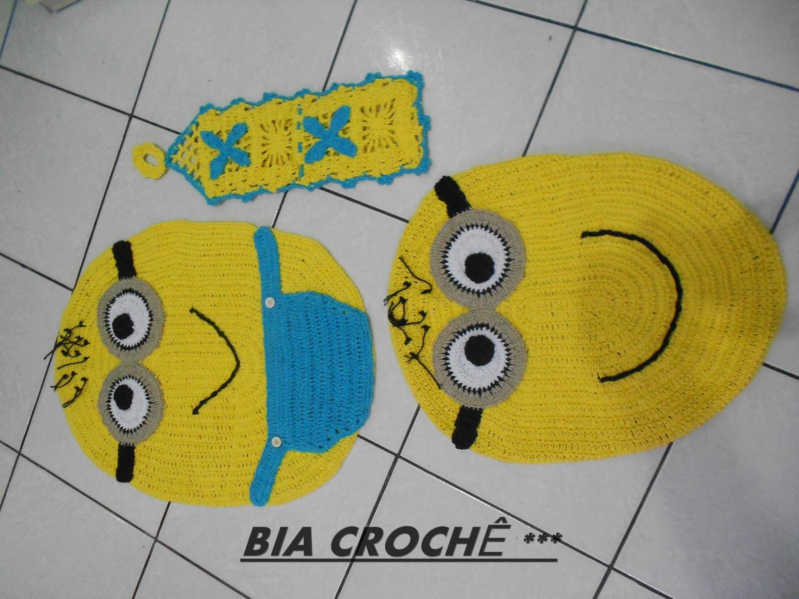 Tapete Minions De Croche : de Croch?: JOGO DE BANHEIRO INFANTIL DE CROCHE DO MINION