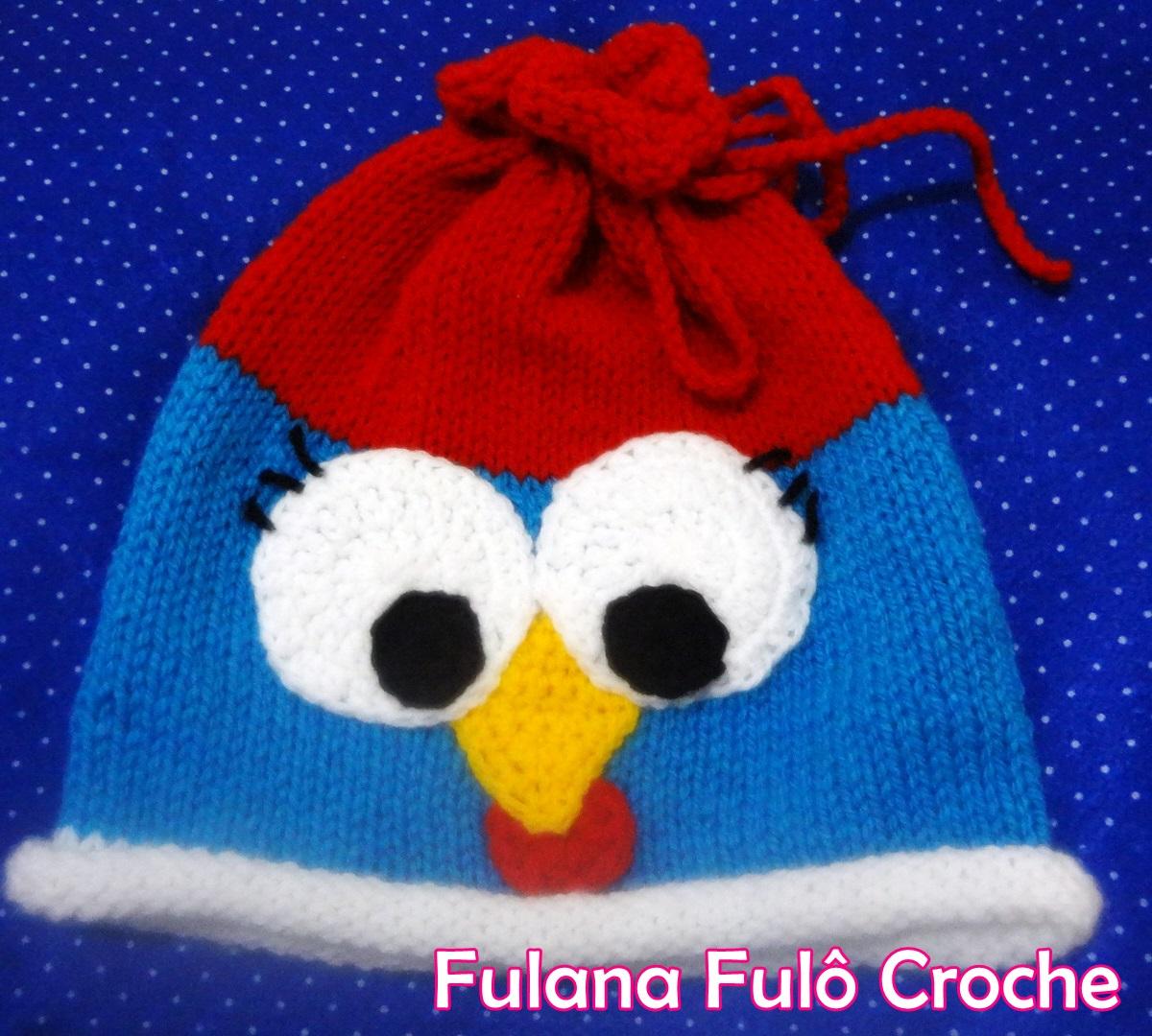http://www.fulanafulocroche.com.br/2014/07/touca-em-trico-galinha-pintadinha.html