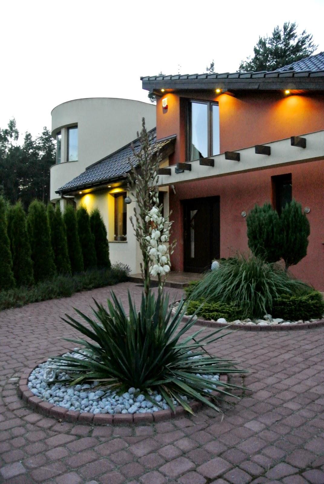 nietypowy dom,projekt domu indywidualny,juka,yucca,tuje,okrągłe rabaty,trawa,koło w domu,nryła domu,nietypowe domy,piękny dom,ogród,dom ekologiczny,pompa ciepła,Szczecin