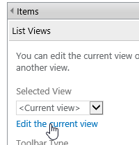 SharePoint edit current view