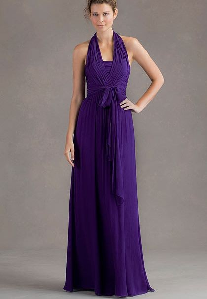 beautiful purple Chiffon Halter A-Line Long Bridesmaid Dress