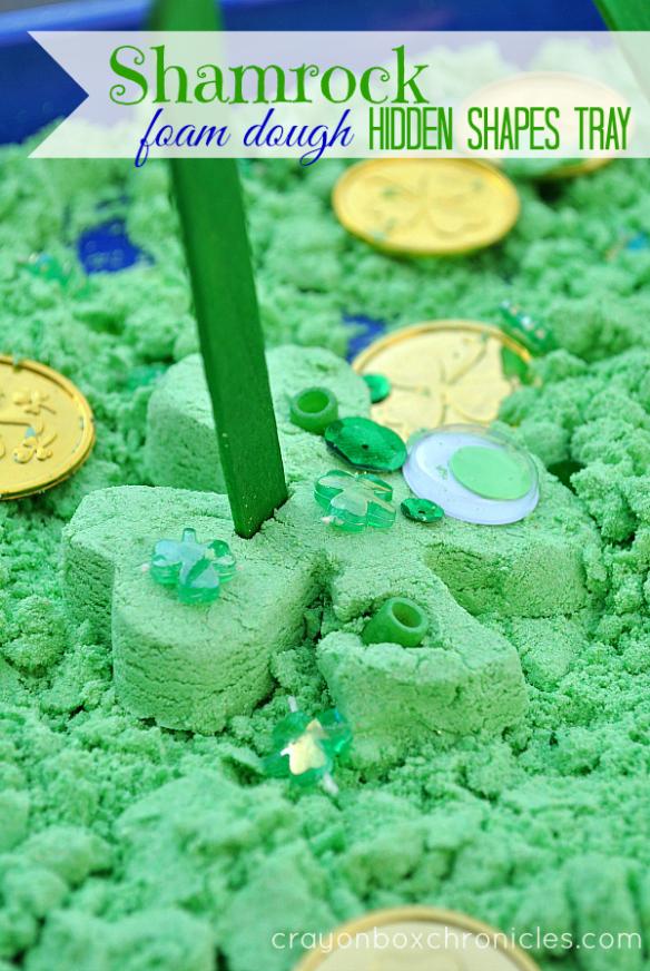 http://crayonboxchronicles.com/2014/02/26/shamrock-foam-dough-sensory-tray/
