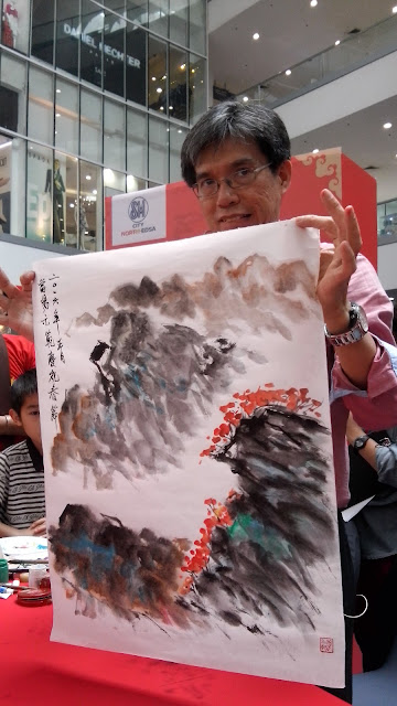 Bamboo, chrysanthemum and landscape were painted swiftly by alex chan lim experienced hands.