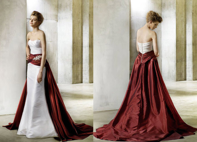 Enzoani wedding dress, red and white wedding dress