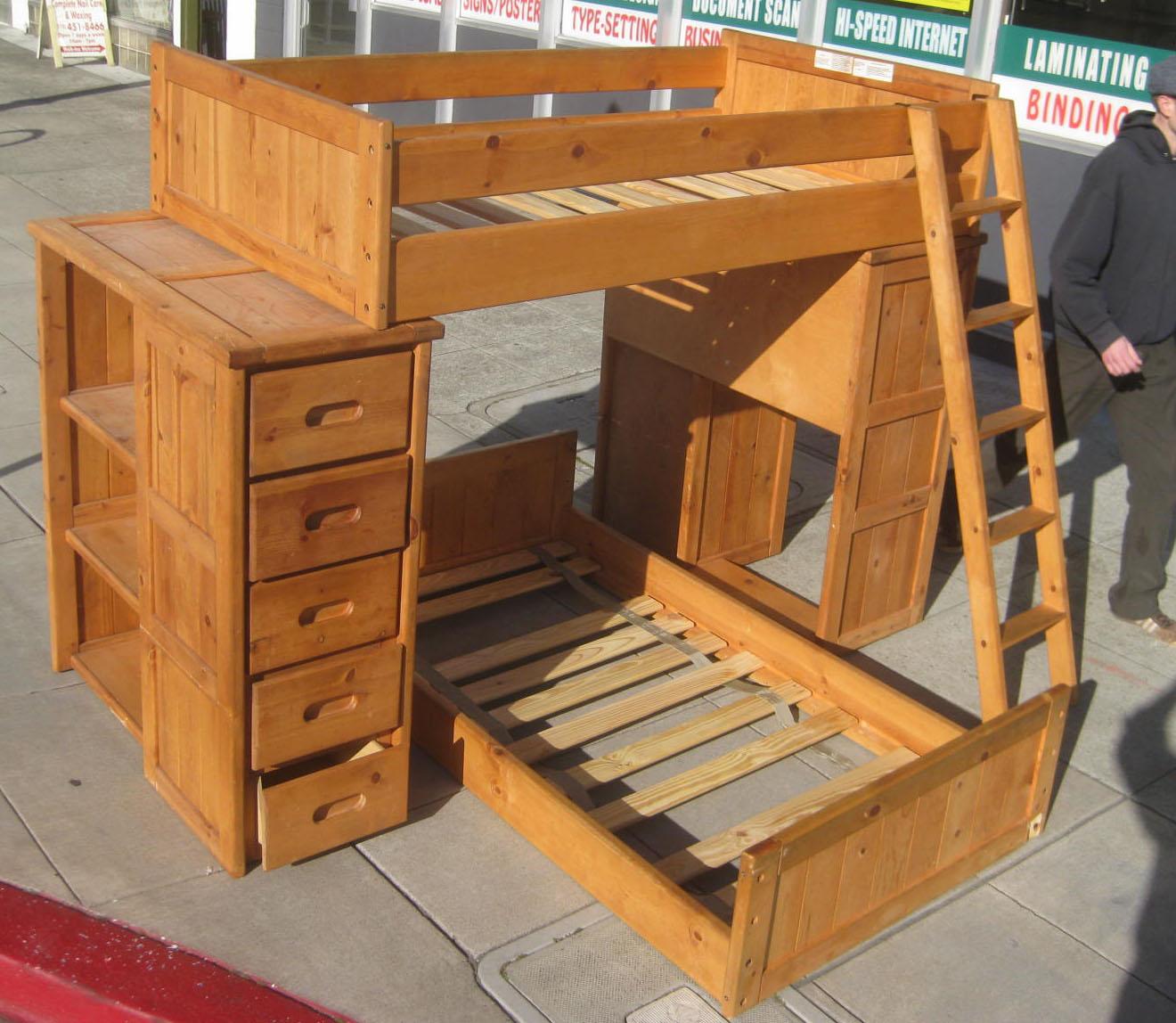 Uhuru Furniture Collectibles Sold Pine Desk Shelves Bunk Bed