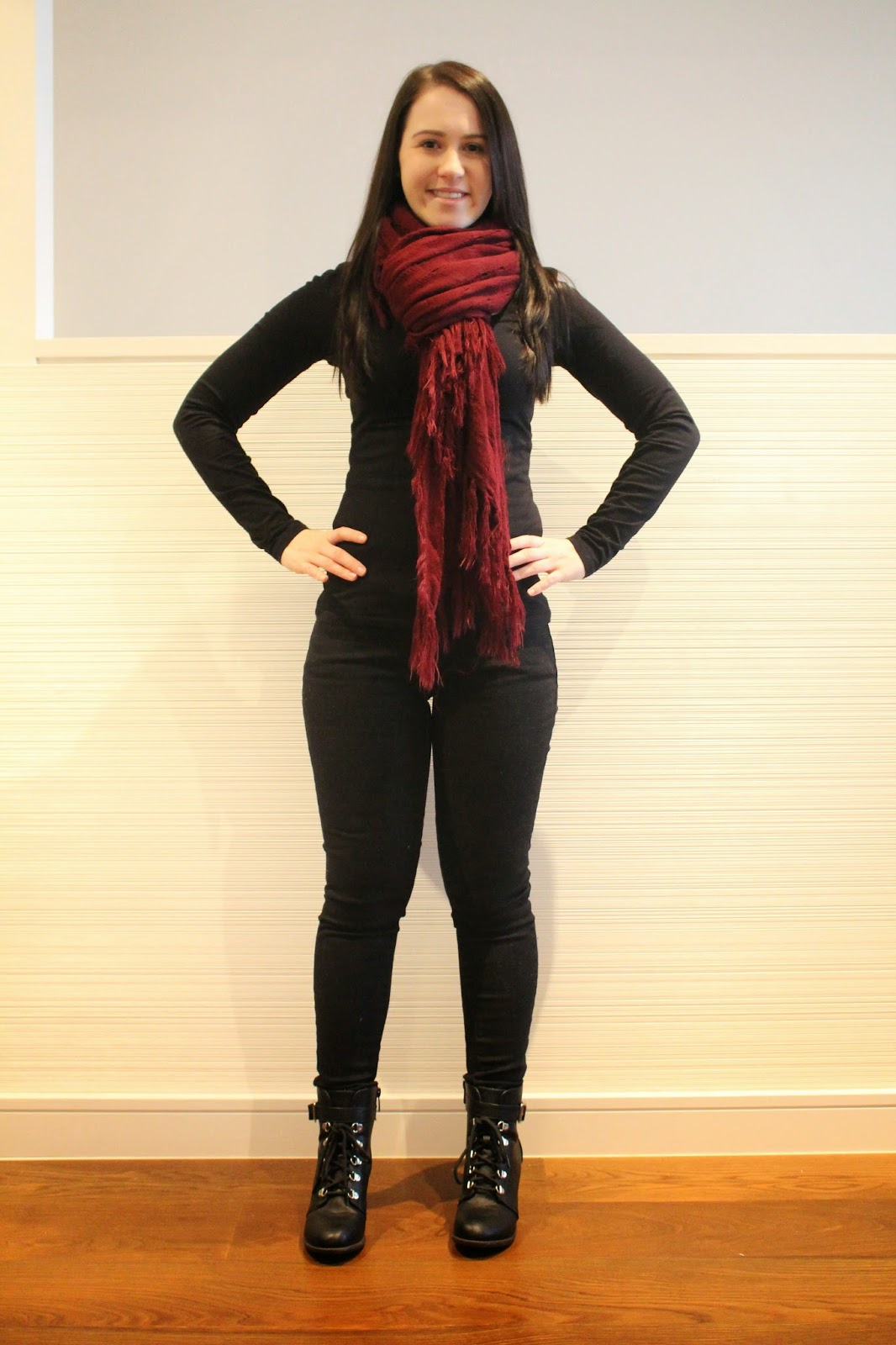 Black jeans, black long sleeved top, khaki winter jacket, black biker booties, maroon scarf, winter outfit, casual winter outfit, everyday outfit, jeans and booties, petite girl outfit