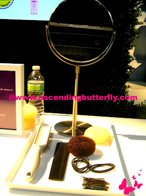 Mirror, Brush, comb, Donut Holes for hair, ponytail holders, bobby pins