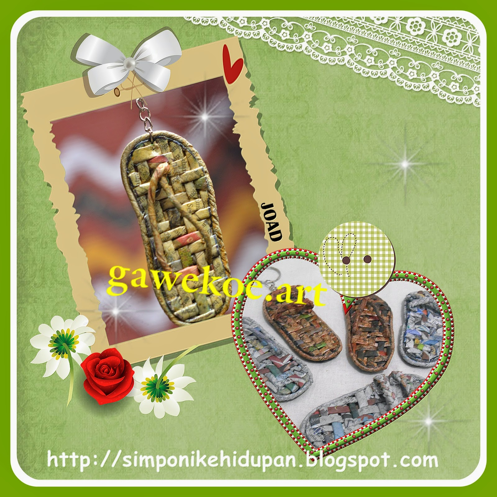 kerajinan tangan dari kertas koran ;souvenir gantungan kunci