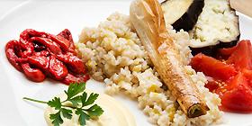 Arroz integral con verduras asadas