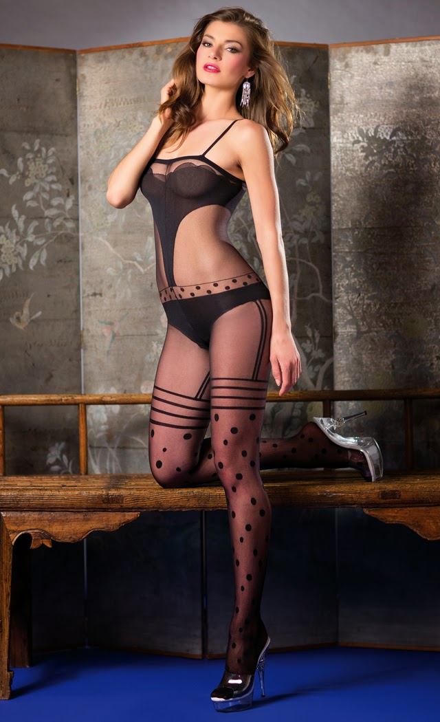 Halter top bodystocking with geometric patterns.