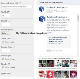 Cara Membuat Fan Page Facebook Like Box di Blogspot/ Website
