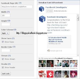 Cara Membuat Fan Page Facebook Like Box di Blogspot/ Website