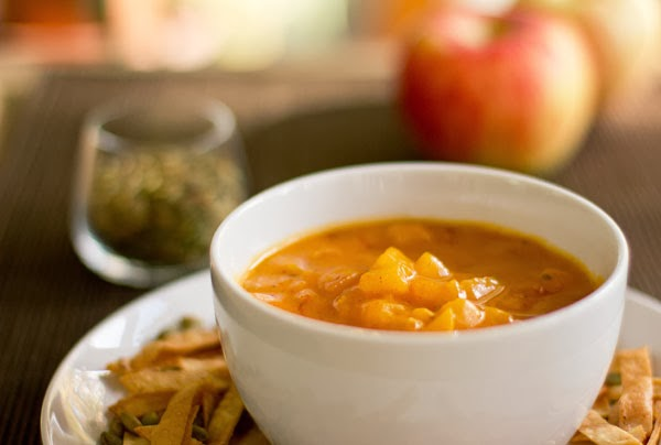 Butternut Squash Soup with Apples & Red Chiles