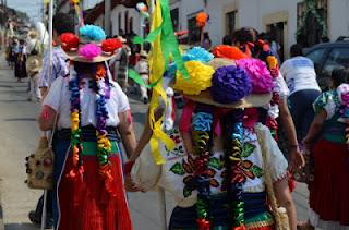 Colorful traditional costumes at the Green Cross Parade in Patzcuaro