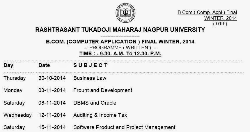 BCCA Final Year Winter 2014 Timetable Nagpur University
