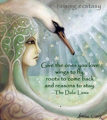 """Give the ones you love wings to fly, roots to come back and reasons to stay."" - The Dalai Lama Art by Amanda Clark Art of a swan, woman's profile and tree"