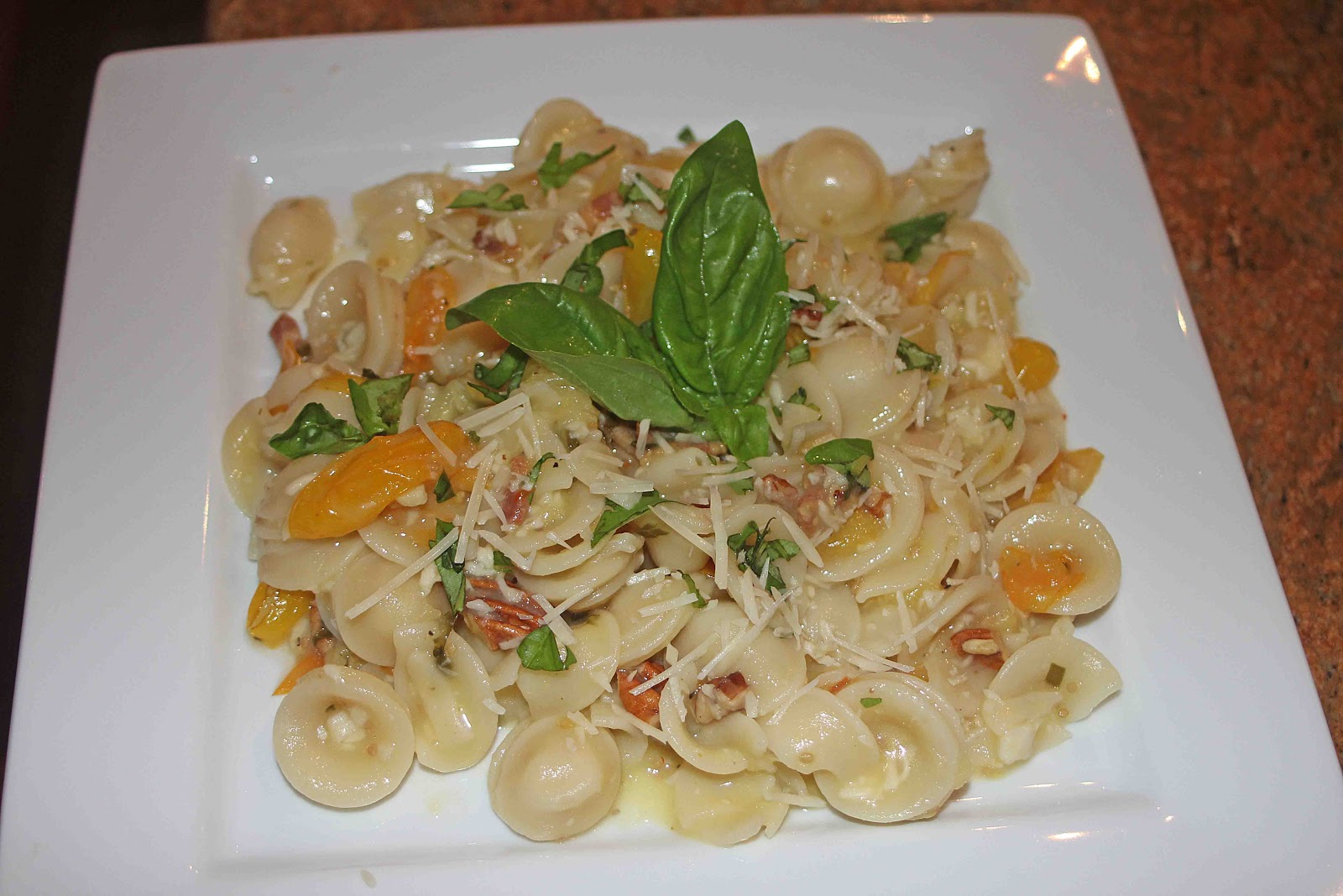 ... Orecchiette Pasta with Bacon, Yellow Pear Tomatoes, Pine Nuts & Basil