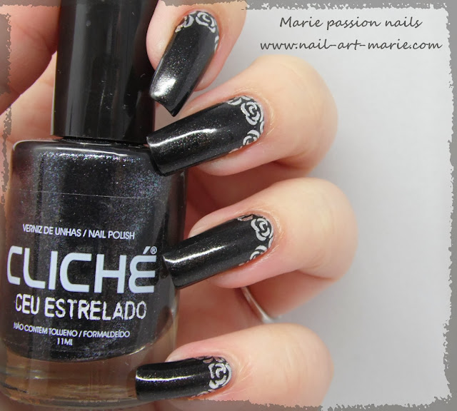 Nail art roses argentées5