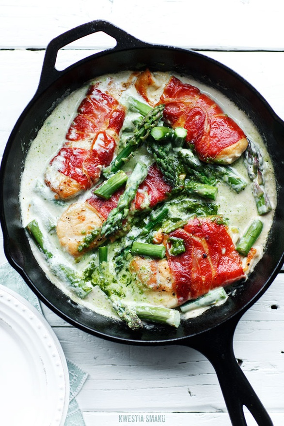 ... : Proscuitto Wrapped Chicken Breast with Asparagus and Pesto Sauce