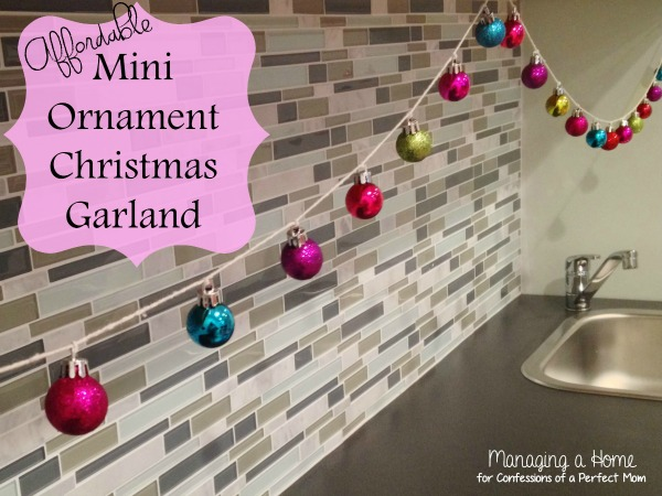 Mini Ornament Garland by Managing a Home | Featured at Confessions of a Perfect Mom