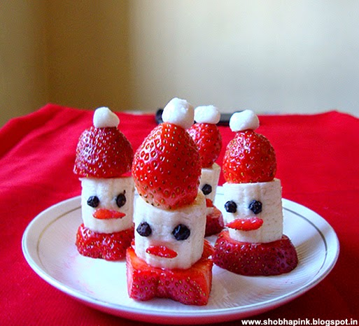 Strawberry Banana Santa Hats Wish You a Merry Christmas