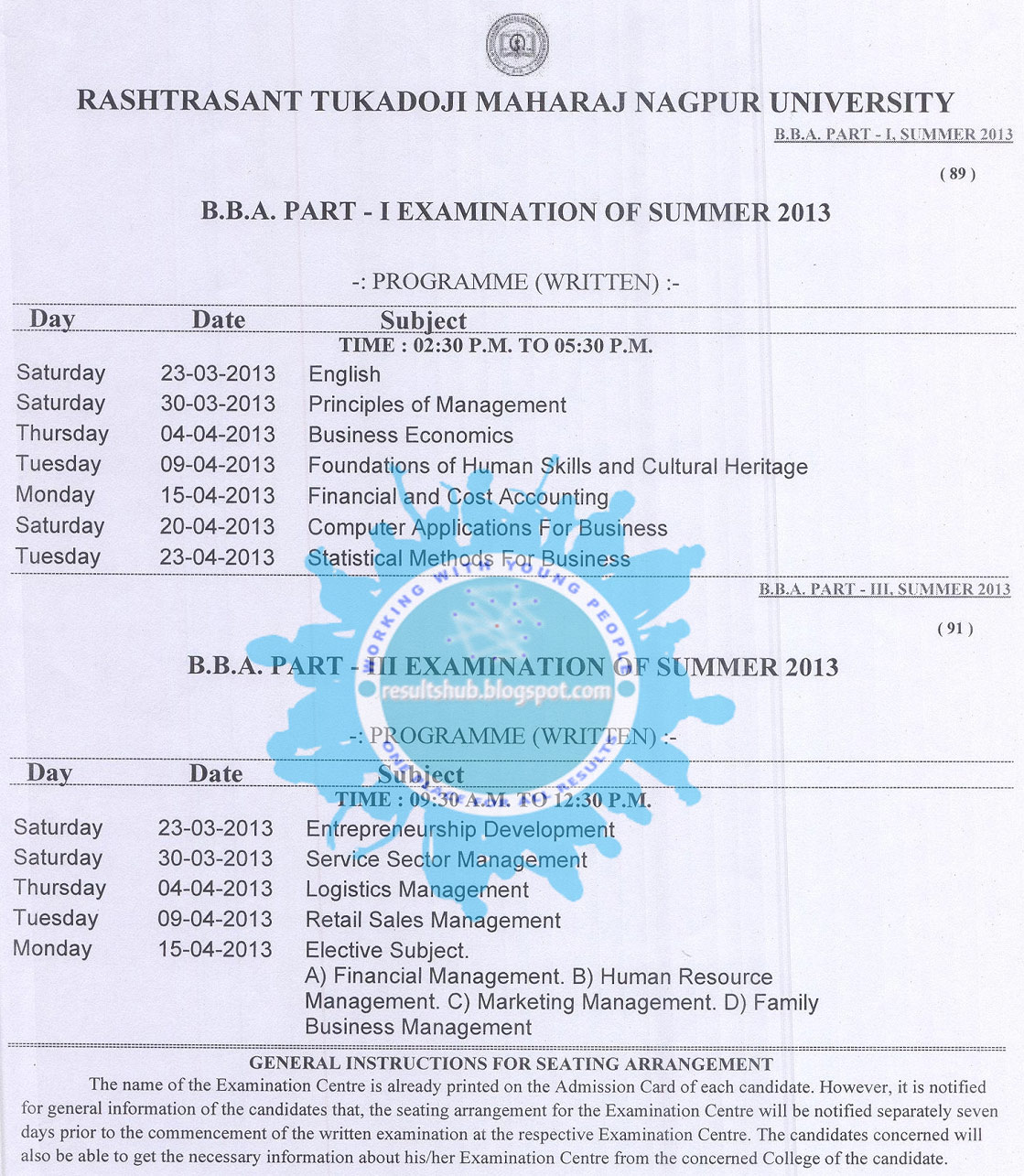 University bba part 1 final year summer 2013 timetable nagpur university bba part 1 final year summer 2013 timetable yadclub Gallery