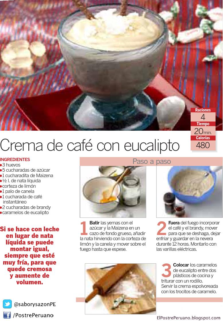 Reposteria facil - CREMA DE CAFE CON EUCALIPTO - Receta sencilla