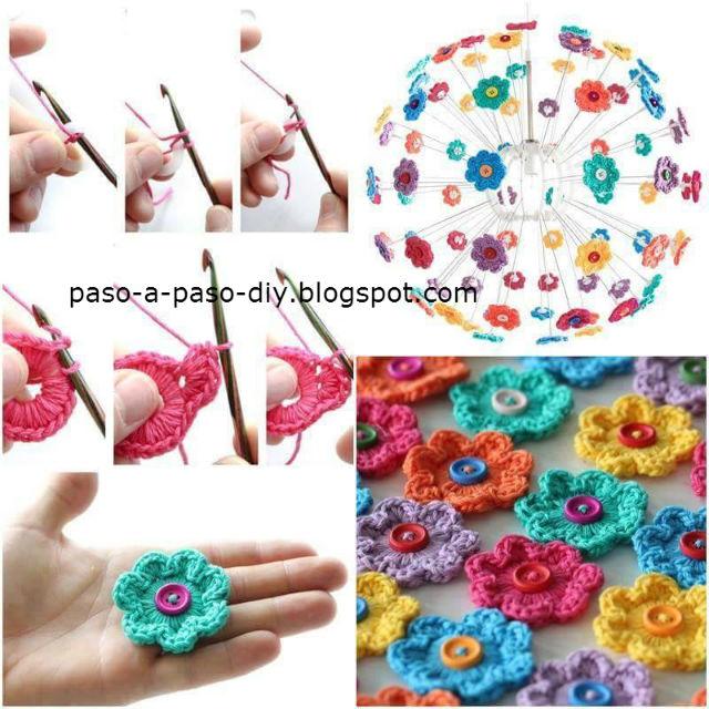 Cómo Tejer Flores Crochet con Centro de Botón / DIY | Paso a Paso