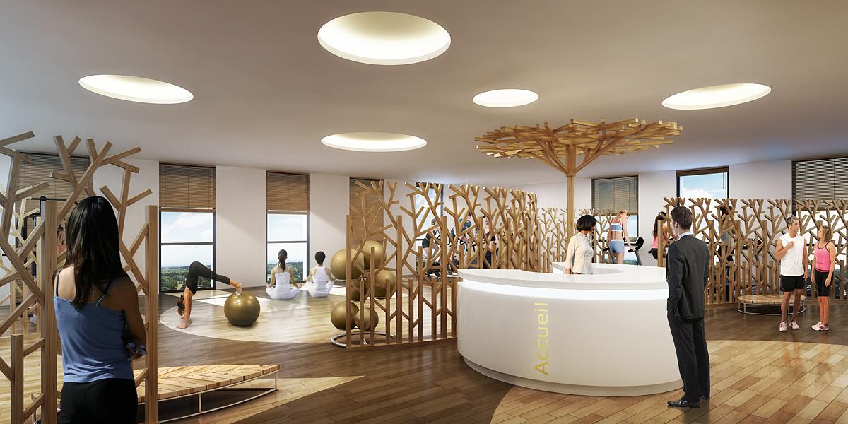 Illustration de la conciergerie avec espace esthétique et salon de coiffure.