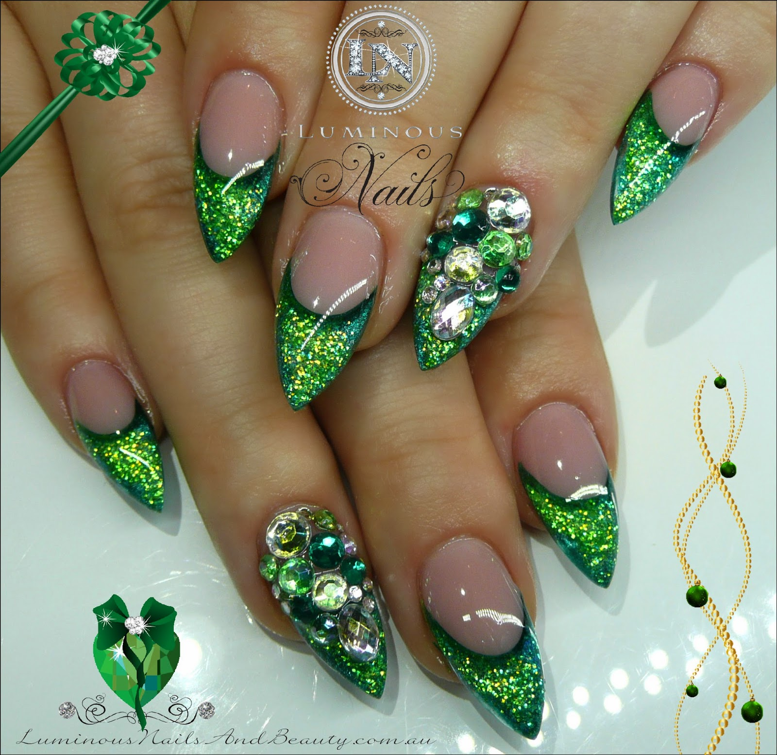 Green glitter nail designs prinsesfo Choice Image