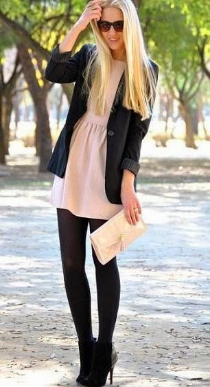 winter dress with tights
