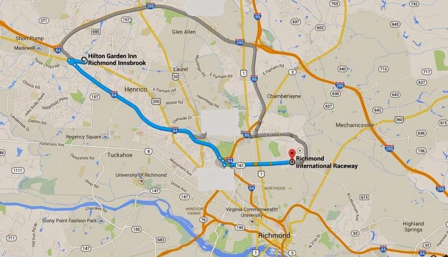 map showing Richmond International Raceway is 18 minutes from Hilton Garden Inn Richmond Innsbrook